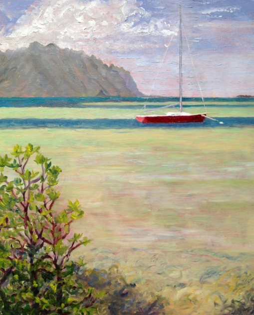 "At Anchor, Kaneohe Bay, 16"" x 20"" oil, © 2014 Rebekah Luke"