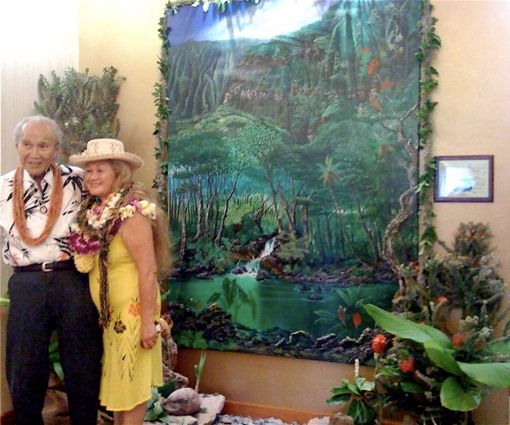 """Artists Ipo Nihipali and her father Joseph Dowson at the blessing and dedication of """"KO'OLAU!"""""""