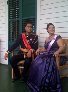 "Actors portray King Kamehameha IV (Alexander Iolani) and Queen Emma on ""A Day at Queen Emma Summer Palace"""