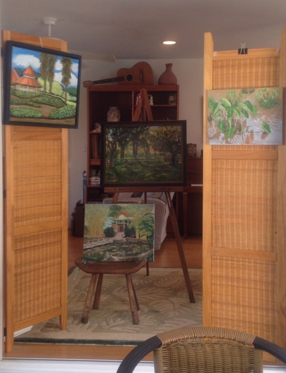 Grouping of paintings includes images of Moanalua Gardens. At left: Prince Lot's cottage by Leinani Keppeler-Bortles. Center: Kamaipuupaa hula mound by Rebekah Luke. Bottom: Chinese Hall by Rae Gorman. Right: Kalo (pu'epu'e style) by Rae Gorman.