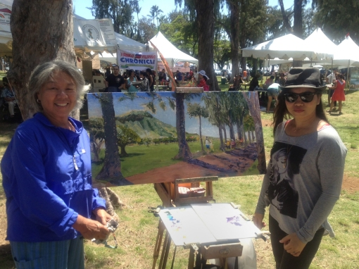 Me and Taxx, who I just met, with my painting in progress, i.e., it is not from completed (Photo by Taxx's photographer)