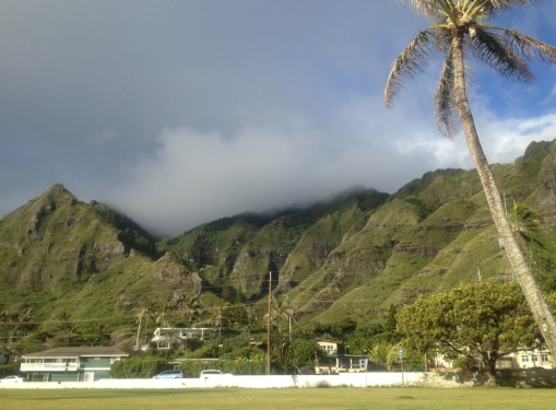 The view of Makaua Valley and mountains at Kaaawa from Swanzy Beach Park