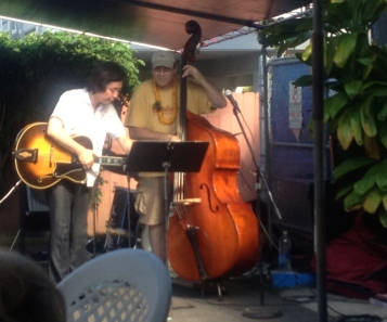 Jazz guitarist and bass player Robert, who is the proprietor of Uncle Bobo's BBQ restaurant in Kaaawa