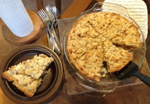 Warm, fragrant banana pie with flavors of cinnamon, nutmeg, lime, and butter. Mmmm...