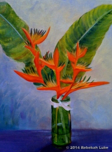 """Heliconia in Vase,"" 14"" x 18"" oil on canvas board, to the highest bidder"