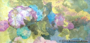 """Hydrangea Collage,"" 30"" x 15"" hand-dyed paper on canvas. $385."