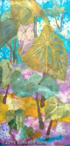 """Kalo Collage,"" 15"" x 30"" hand-dyed paper on canvas. $385."
