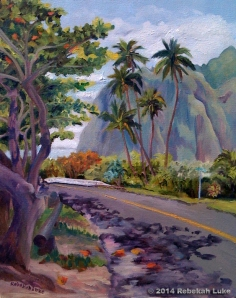 """Kamehameha Highway and Kaaawa Place,"" 16"" x 20"" oil on canvas, at auction"