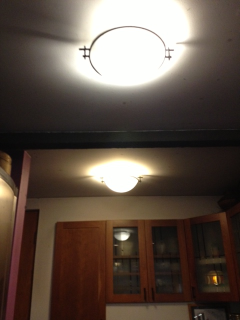I wondered why it was so dark in the kitchen after the fire. The once-white ceiling was now black with soot.