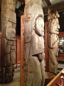 Unpainted totem poles carved by Natives in the 19th century and now preserved by the Totem Heritage Center in Ketchikan