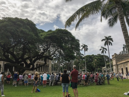 ʻIolani Palace grounds during the Friday noontime performance by the Royal Hawaiian Band draws an appreciative public