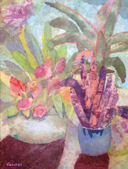 """Bromeliads - 2015 - 18"""" x 24"""" hand-dyed paper on canvas — Leslie Miller Collection"""