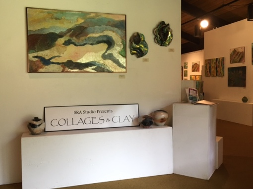 A sparkling collage painting and ceramic masks by Susan Rogers-Aregger greet visitors to new exhibit