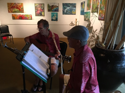 Bob and Tommy of The Band Tantalus entertained guests with acoustic sounds. Warm to cool palettes grace the gallery walls.