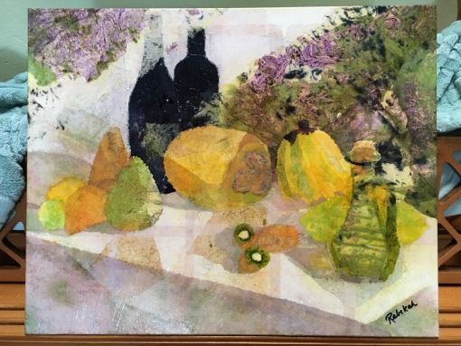 """A Lovely Afternoon"" Original 20"" x 16"" hand-dyed tissue paper collage on canvas, copyright 2017 Rebekah Luke."
