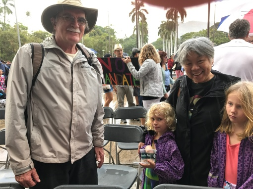 Women's March participants at the Hawaii State Capitol: Pete, Perrin, Rebekah, Ayla